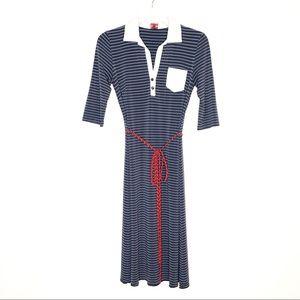Leona Edmiston Frocks Navy/White Stripes Size XS